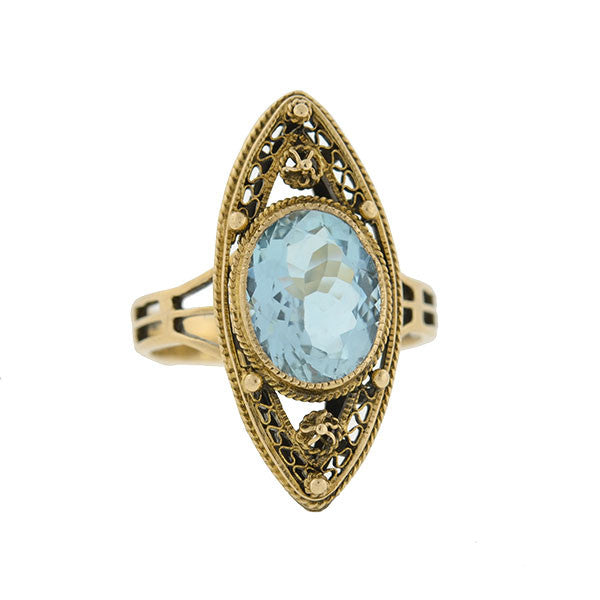 Art Deco 14kt Aquamarine Filigree Navette Ring
