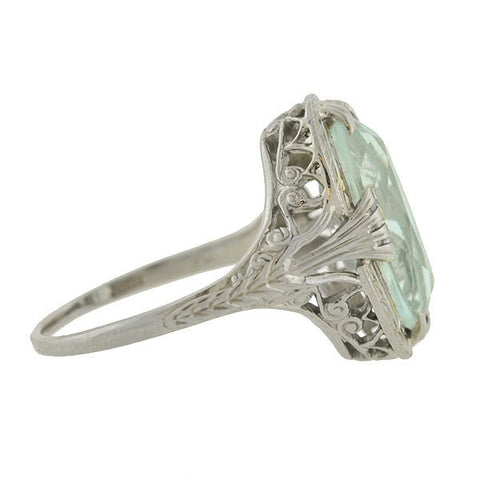 Art Deco 18kt Aquamarine Oval Filigree Ring