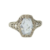 OSTBY & BARTON Art Deco 14kt Aquamarine Filigree Ring