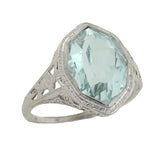 Art Deco 18kt Faceted Aquamarine Filigree Ring