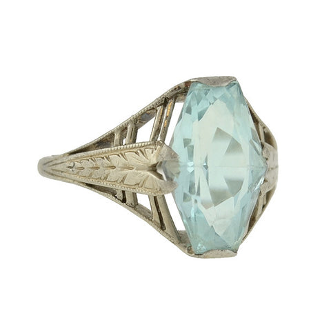 Art Deco 14kt Aquamarine Etched Filigree Ring 2.00ct