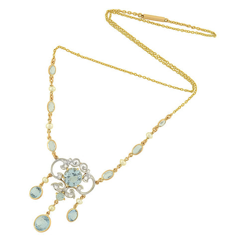 Art Nouveau 18kt/Platinum Aquamarine & Diamond Lavalier Necklace