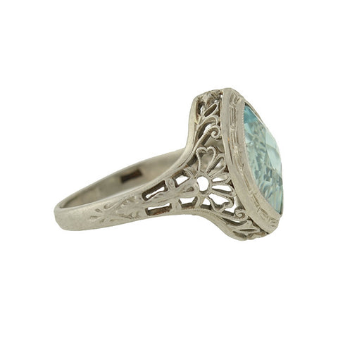 Art Deco 14kt Aquamarine Navette Filigree Ring 1.75ctw