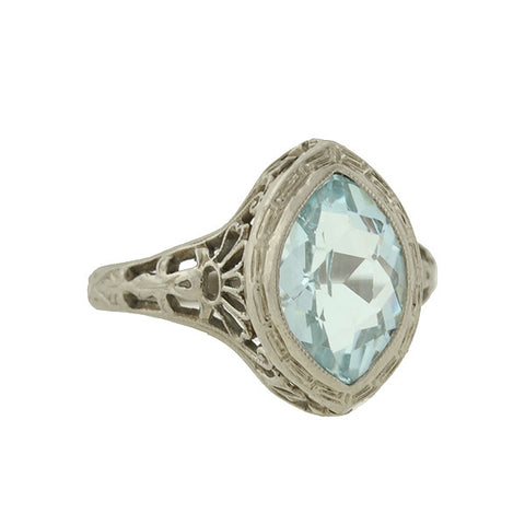 Art Deco 18kt Moonstone & Pavé Set Diamond Ring