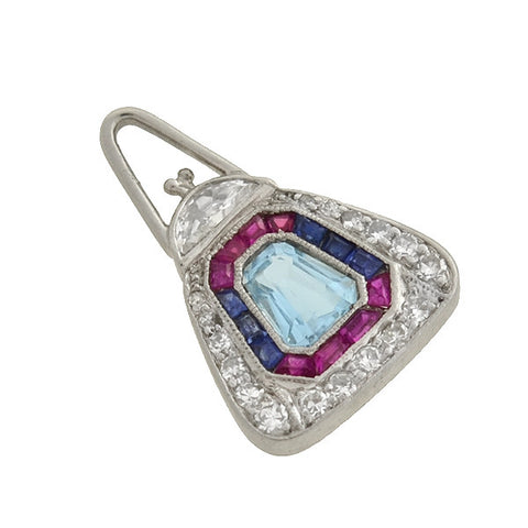 Art Deco Platinum Aqua, Diamond, Ruby, Sapphire Purse Charm