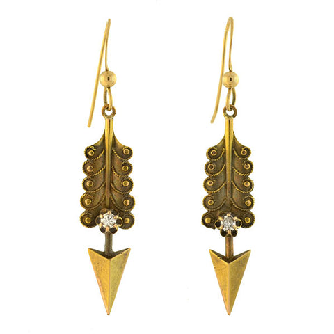 Victorian 14kt Yellow Gold Diamond Arrow Earrings