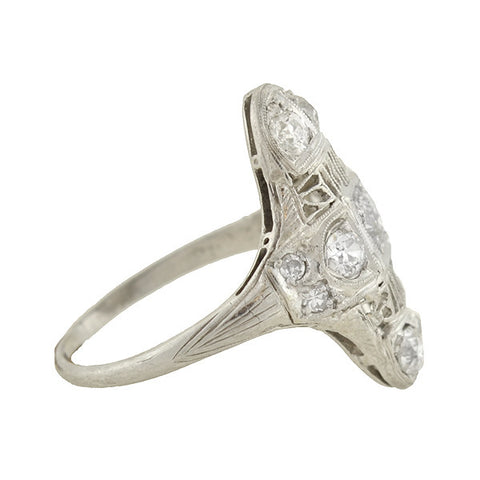 Art Deco Platinum Diamond Filigree Ring .60ctw