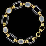 Art Deco 14kt Moonstone Rock Quartz Crystal Link Bracelet