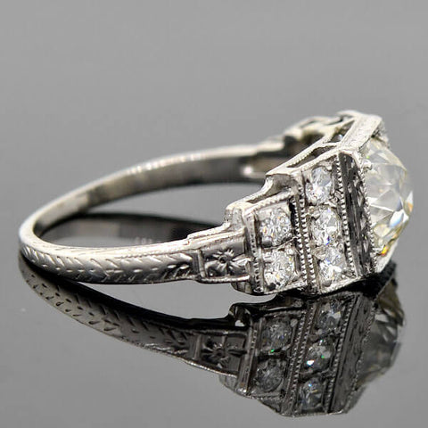 "Art Deco Platinum ""Step-Up"" Diamond Engagement Ring 1.08ct"