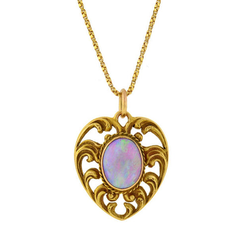 Art Nouveau 14kt Opal Filigree Heart Necklace
