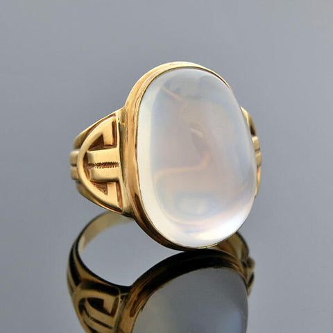 Art Nouveau 14kt Large Cabochon Blue Moonstone Ring