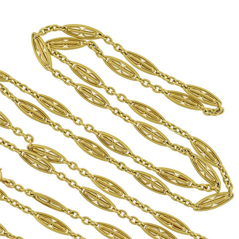 Art Nouveau French 18kt Long Filigree Muff Chain 62""