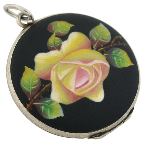 Art Deco Sterling Black & Yellow Rose Matte Enameled Locket
