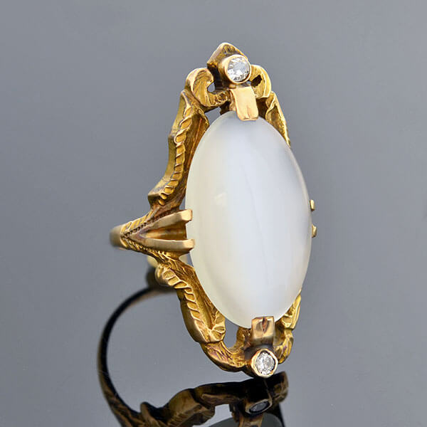 Art Nouveau 10kt Elongated Moonstone Diamond Ring