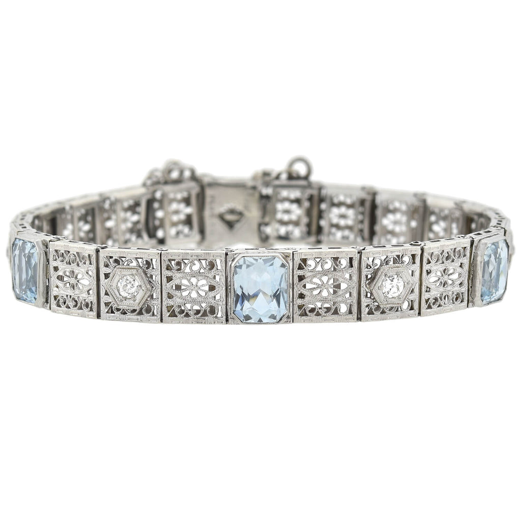 Art Deco 14kt/Platinum 4.50ctw Aquamarine + Diamond Filigree Link Bracelet