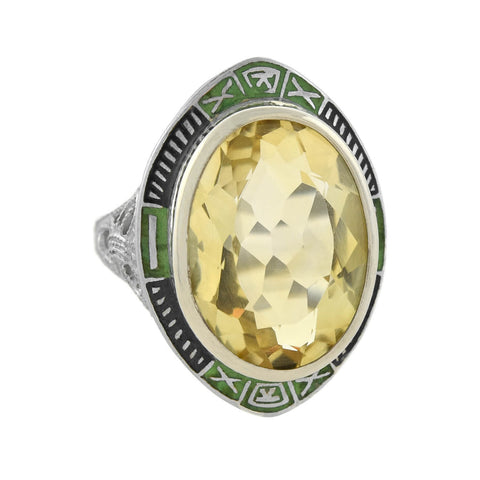 Art Deco Sterling Silver Faceted Citrine + Enamel Ring