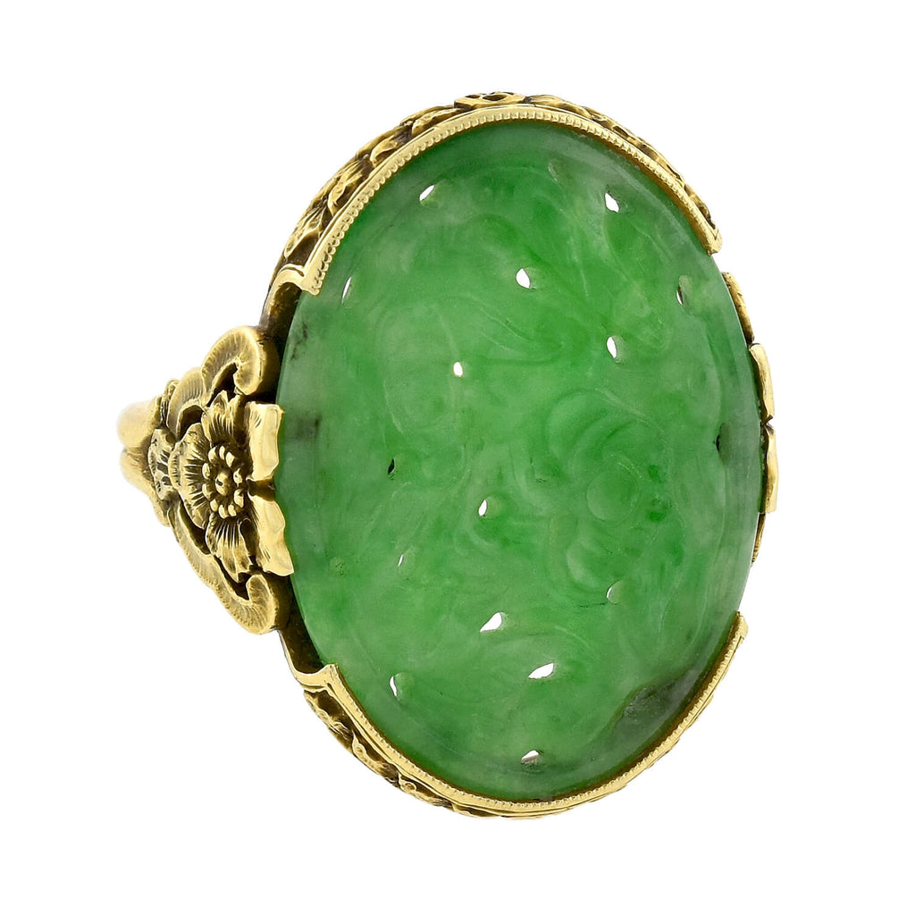 Art Deco 18kt Hand Carved Natural Jadeite Floral Ring