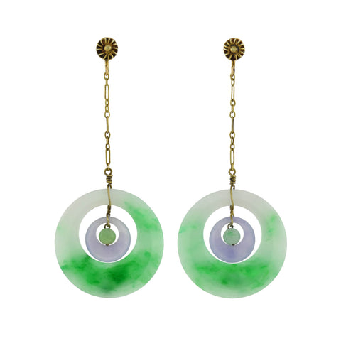 Art Deco 14kt Carved Lavender + Green Jade Earrings