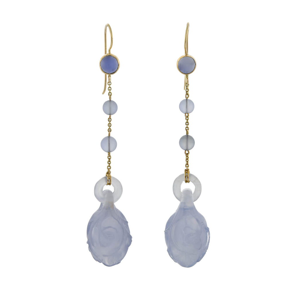 Late Art Deco 14kt Hand Carved Lavender Jade Earrings