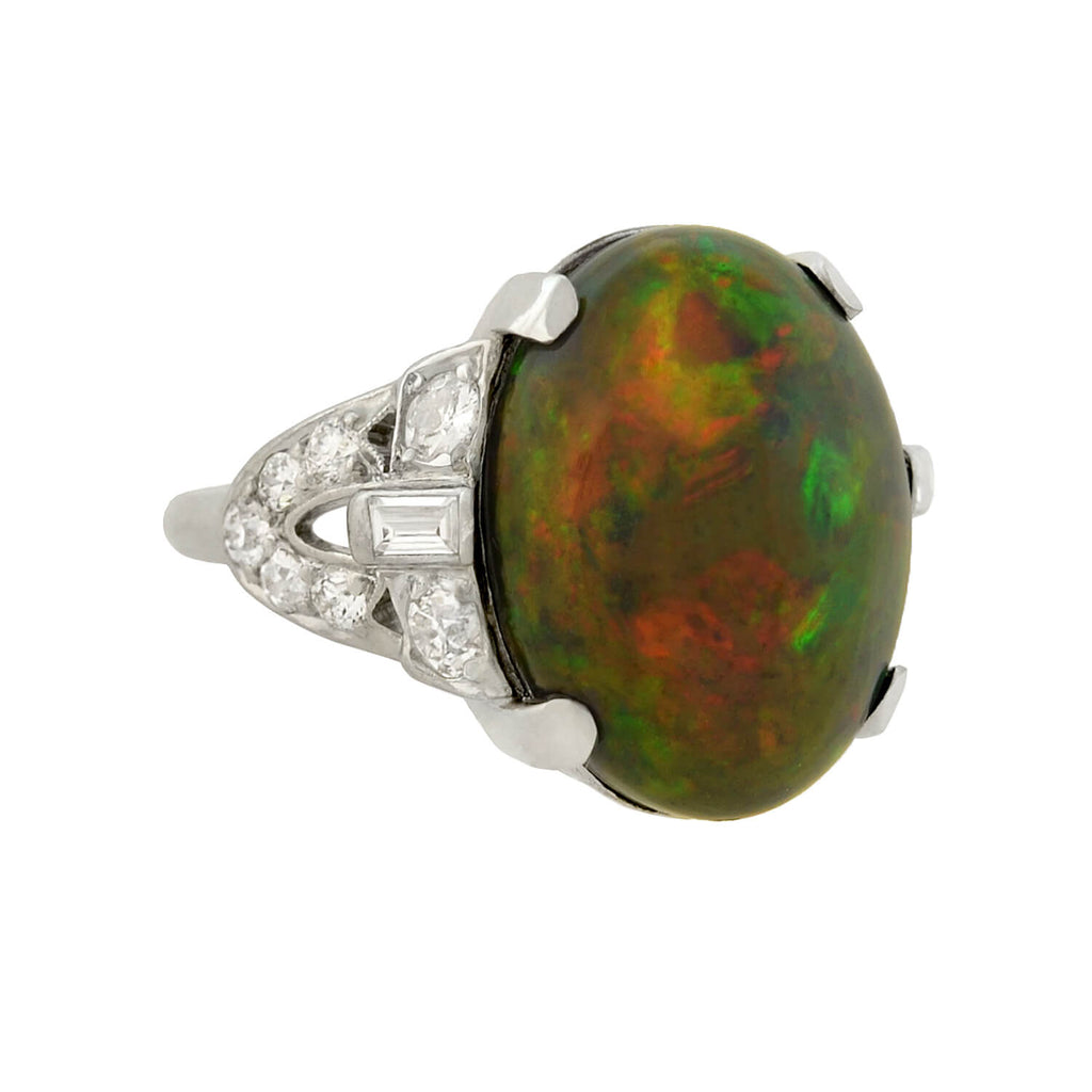 Art Deco Platinum GIA-Certified Black Opal + Diamond Ring 6.81ct center