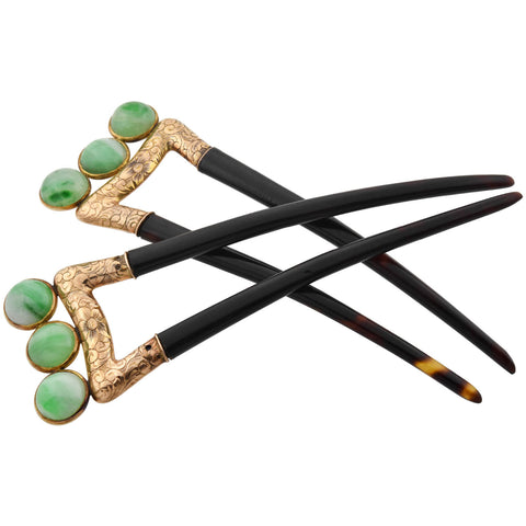 Art Deco 14kt Jade + Carved Tortoise Shell Hair Comb Set