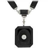 Art Deco Large Carved Onyx + Diamond Locket with Silk Sautoir 2.00ctw