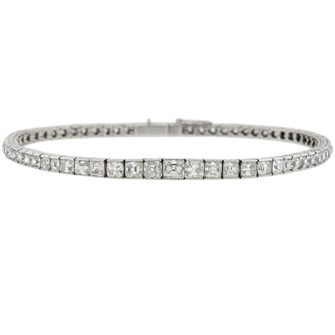 Art Deco Platinum Mixed Square Step Cut Diamond Line Bracelet 6.00ctw