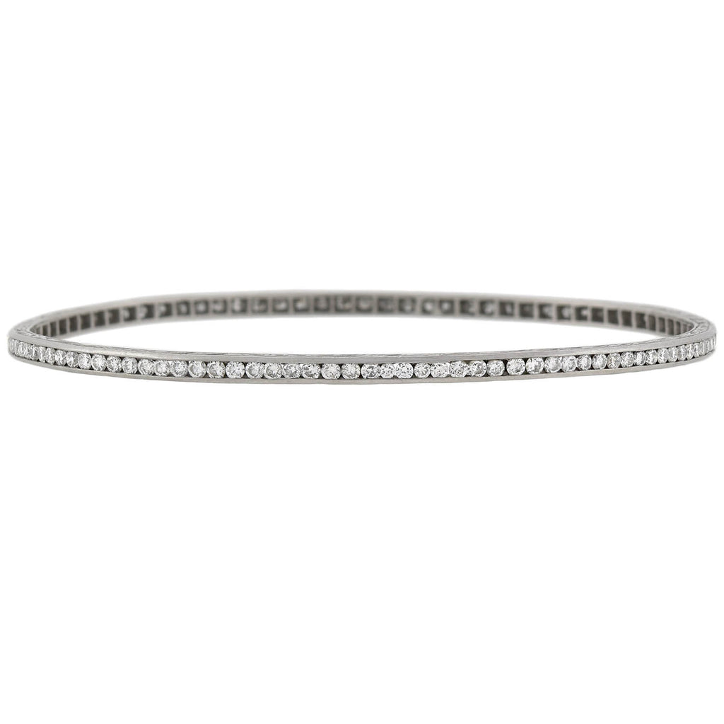 Art Deco Platinum Old European Cut Diamond Oval Bangle Bracelet 3.50ctw