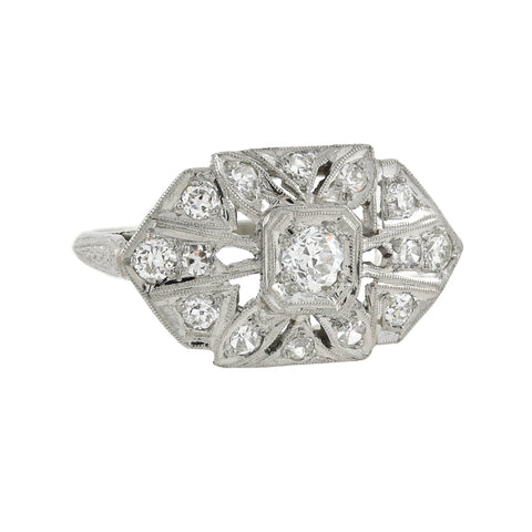 Art Deco Platinum Diamond Ornate Hexagonal-Shaped Ring