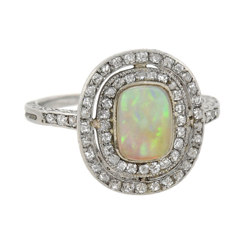 Art Deco Platinum Old Rose Cut Diamond + Opal Ring