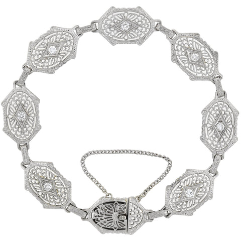 Art Deco Platinum-Topped 14kt Diamond Filigree Link Bracelet