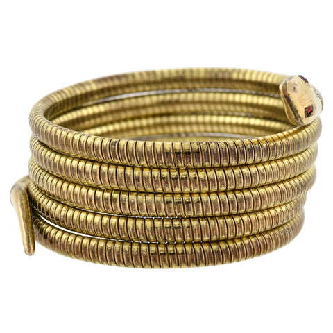 Art Deco Rolled Gold Red Paste Flexible Wrap-Around Coiled Snake Bracelet