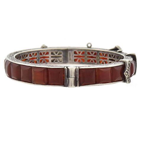 Art Deco Sterling Carnelian + Marcasite Buckle Bangle Bracelet