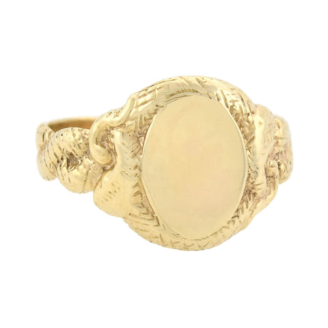 Art Nouveau 14kt Gold Double Snake Ring with Smooth Signet