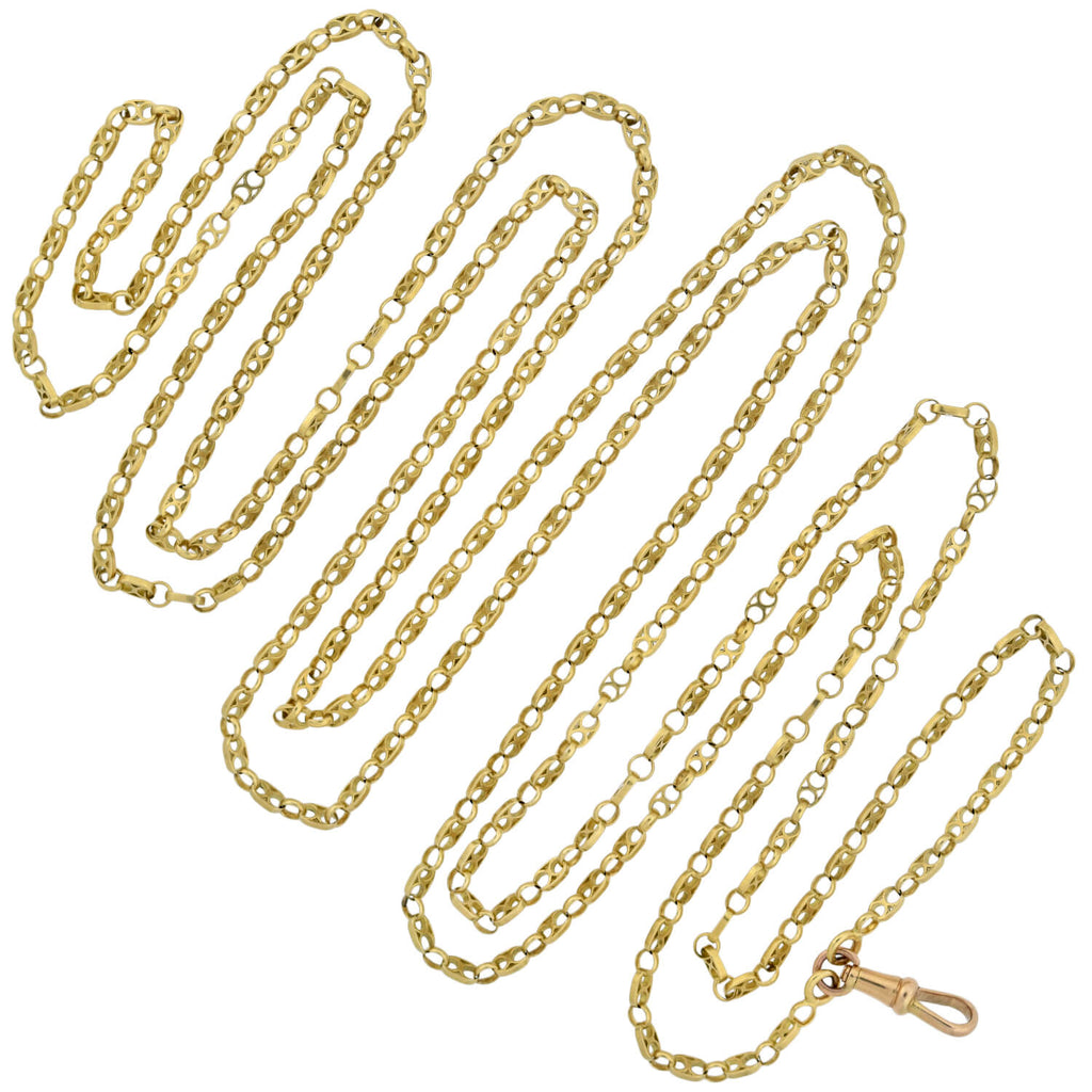 Victorian French 18kt Yellow Gold Link Long Chain Necklace 62""