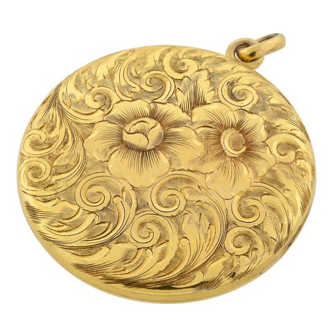 Art Nouveau 10kt Engraved Locket with Floral Motif