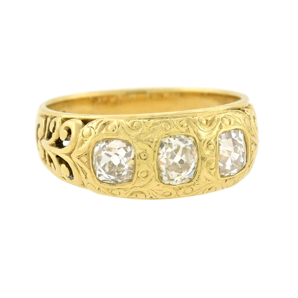 Art Nouveau 18kt Mine Cut Diamond 3-Stone Ring 1.00ctw