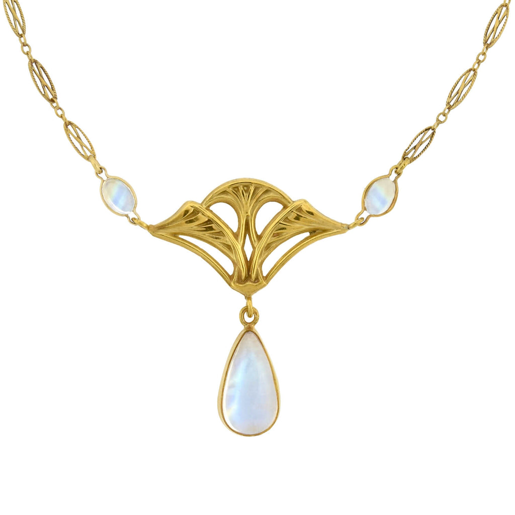 Art Nouveau 14kt/18kt Rainbow Moonstone Lavalier Pendant Necklace