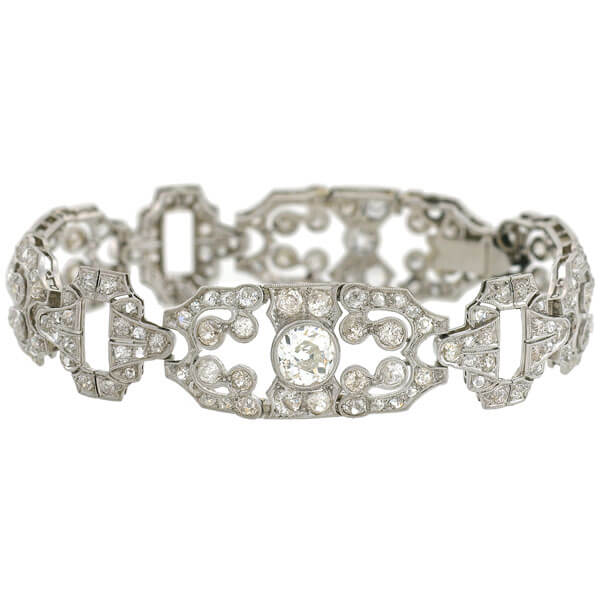 Art Deco Platinum Diamond Fancy Link Bracelet 11.50ctw
