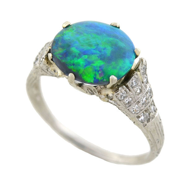 Art Deco Platinum Black Opal & Diamond Ring