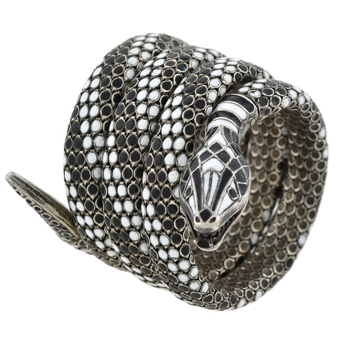 Art Deco Sterling Black + White Enameled Flexible Wrap-Around Snake Bracelet