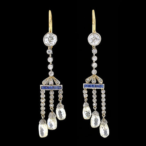 Edwardian Platinum/14kt Diamond Briolette & Sapphire Earrings 3ctw