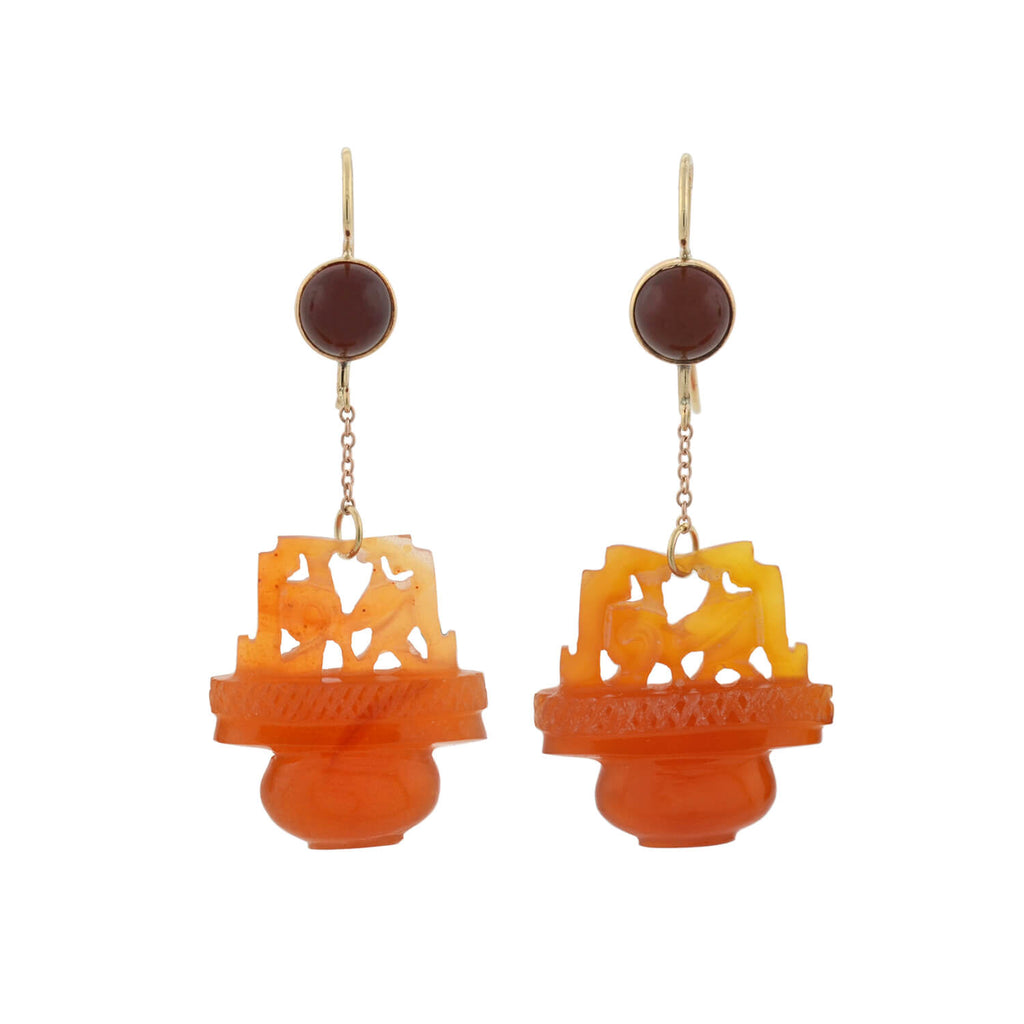 Late Art Deco Chinese 14kt Hand Carved Carnelian Dangle Earrings