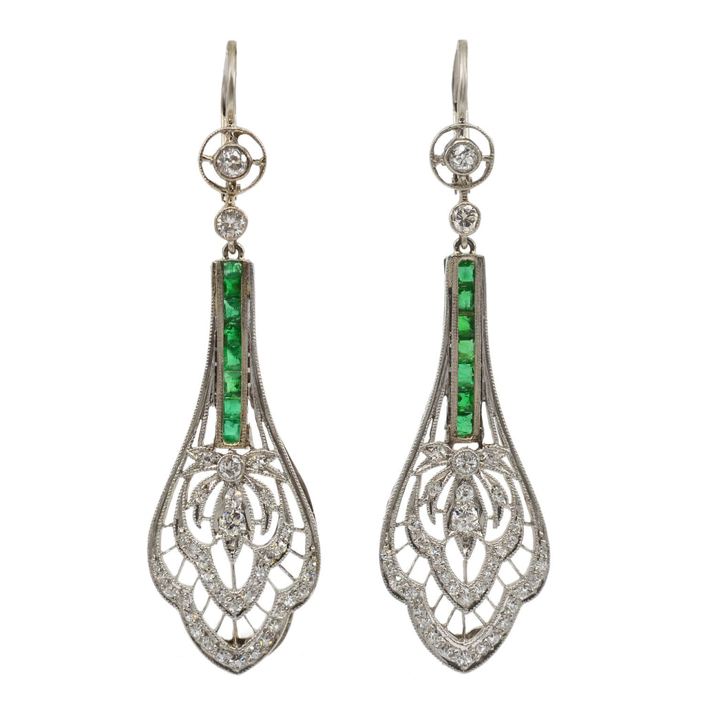 Art Deco Platinum Diamond + Emerald Filigree Earrings