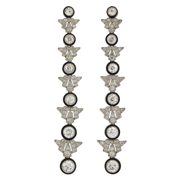 Art Deco Drippy Platinum Enameled Diamond Earrings 8ctw