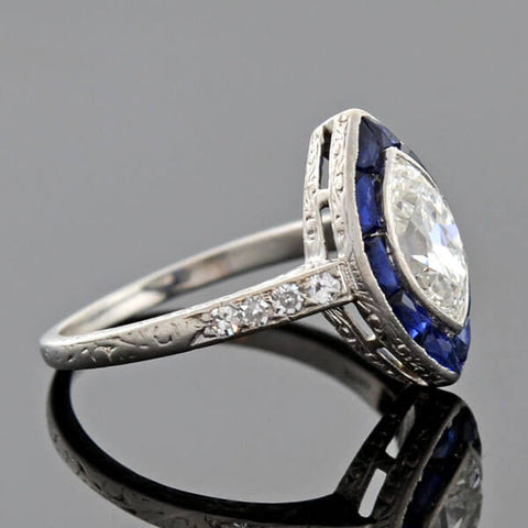 Art Deco Platinum Sapphire & Marquis Diamond Ring 1.00ct