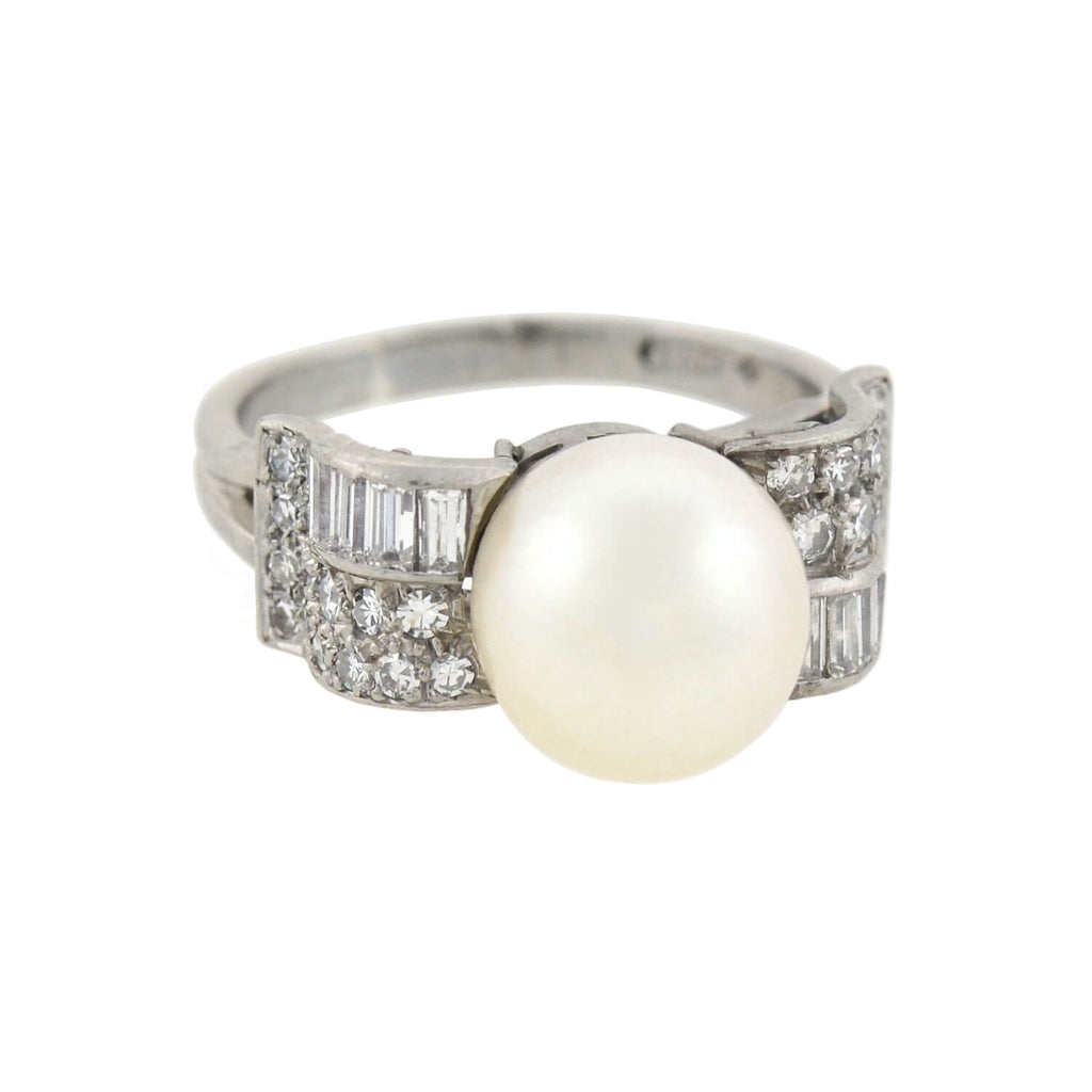 Art Deco Platinum Pearl + Diamond Ring 0.80ctw