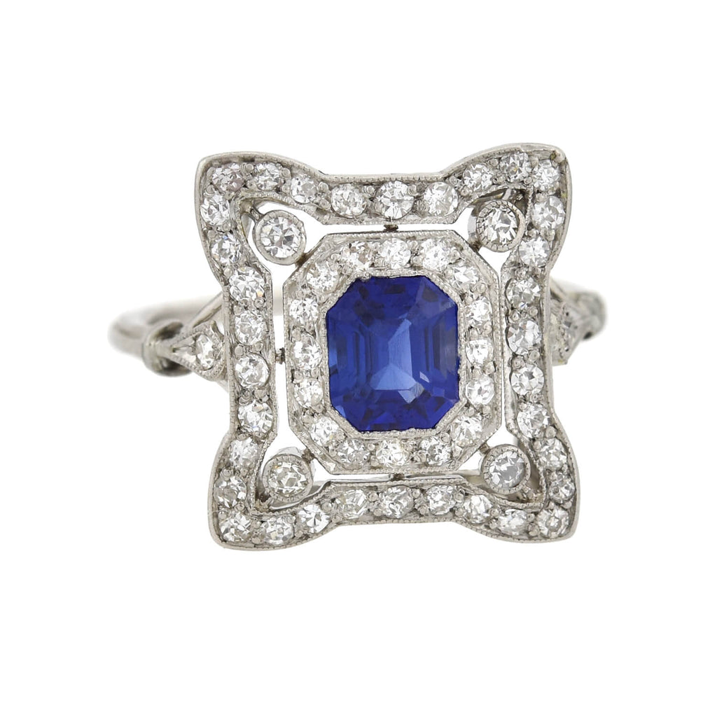 Art Deco Platinum Sapphire + Diamond Filigree Ring 0.65ct center