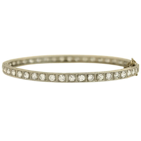 Art Deco Platinum Old European Cut Diamond Bangle Bracelet 5ctw