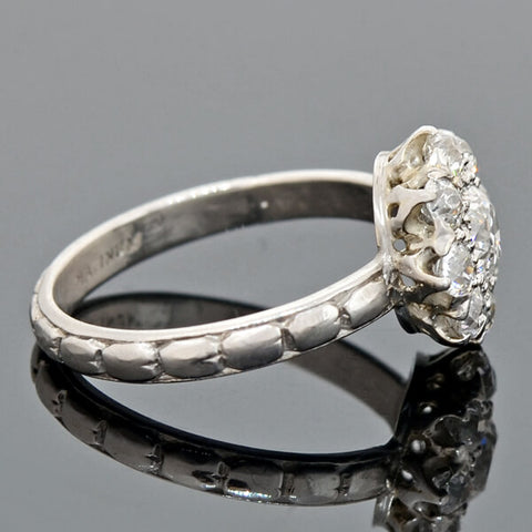Art Deco Platinum Diamond Cluster Ring 1.25ctw